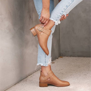 Women's Buckle Solid Color Pointed Boots