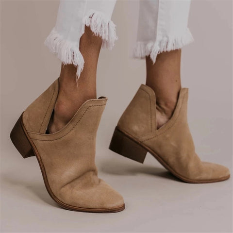 Women's Solid Color Pointed Booties
