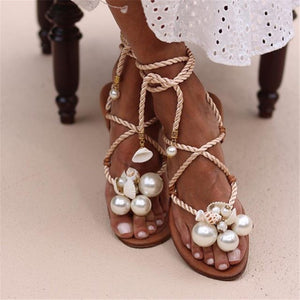 Women's Pearl Shell Strap Flat Sandals