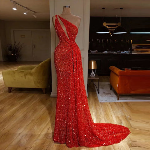 Sexy Irregular Collar Hole Sequin Evening Dresses