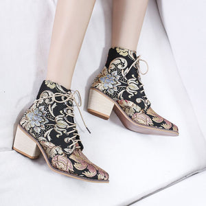 Vintage Satin Embroidered Chunky Heels Pointed Toes Boots