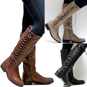 Vintage Lace-Up Design Pure Color Low-Heel Boots