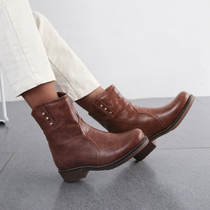 Vintage Rivet Pure Color Low-Heel Martin Boots