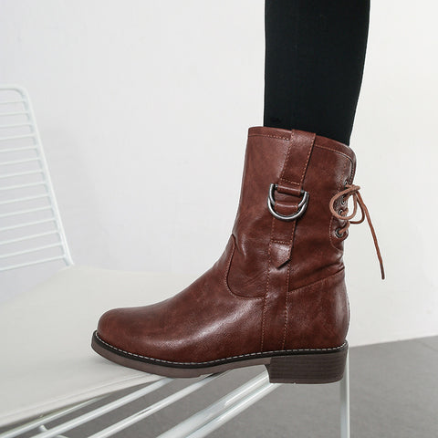 Vintage Belt Buckle Design Pure Color Low-Heel Ankle Boots