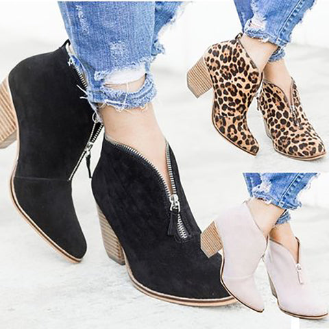 Women's Fashion Velvet Front Zipper Leopard Thick Heel Boots