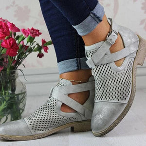 Women's Fashion Casual Solid Color Belt Buckle Boots