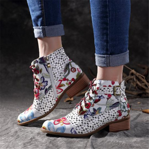 Women's Vintage Flower Side Zipper Thick Boots