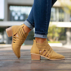 Women's Fashion Solid Color Hollow Back Zipper Round Head Boots