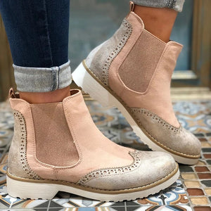 Vintage Low-Heel Mixed Color Ankle Boots Biker Boots