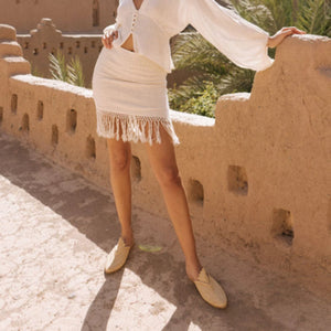 Vintage Fringed Solid Color Slim Dress