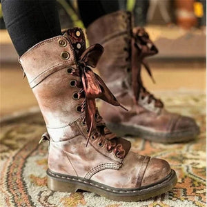Women's Solid Color Lace-Up Boots