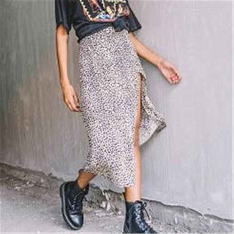 Punk Leopard Slit Skirt