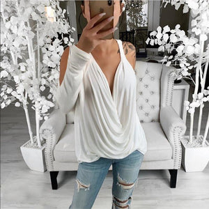 Sexy Off-Shoulder Pure Colour T-Shirt
