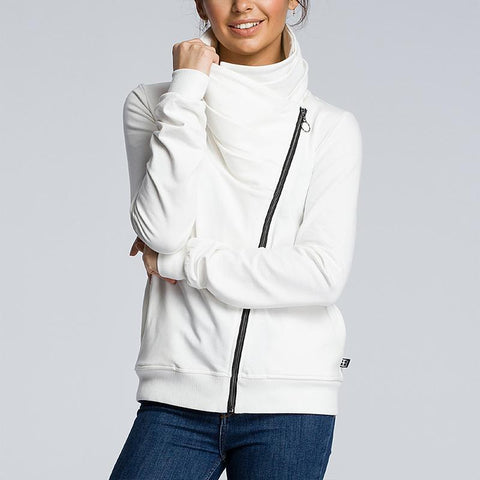 Women's Diagonal Zipper Irregular Neckline Sweatshirt