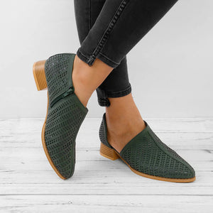 Women's European And American Fashion Solid Color Hollow Thick Ankle Boots