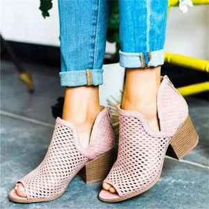 Women's European And American Fashion Hollow Fish Mouth Thick Ankle Boots