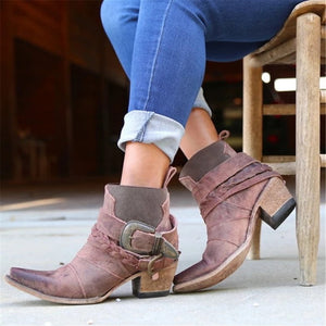 Women's Vintage Buckle Pointed Boots