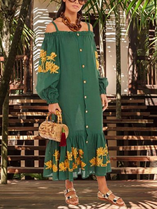 Women's Elegant Embroidery Boat Neck Long Sleeve Splicing Dress