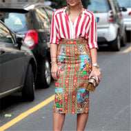 Women's Vintage Print High Waist Skirt