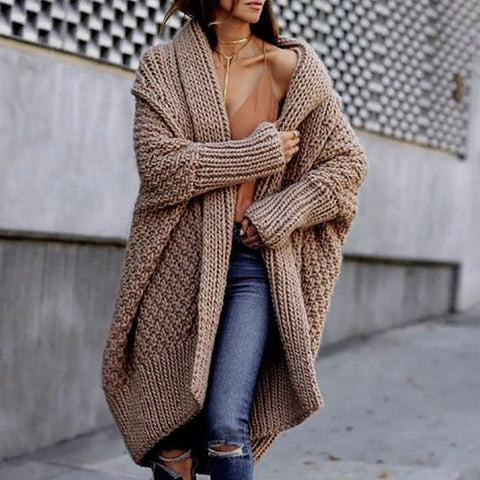 Fashion Pure Colour Long Sleeve  Cardigan Sweater