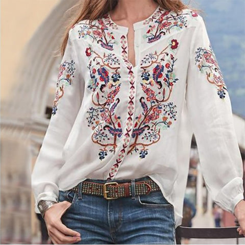 Sweet Round Neck Inwrought Long Sleeve Blouse
