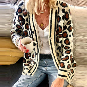 European And American Leopard Single-Breasted Cardigan Sweater