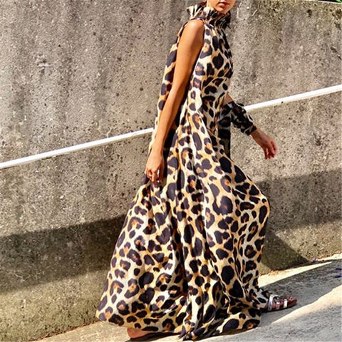 Loose Sleeveless High Collar Leopard-Print Maxi Dress
