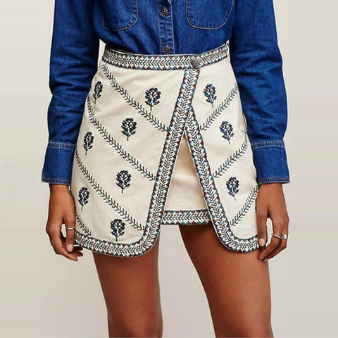 Casual Embroidery Fake Two-Piece Skirt