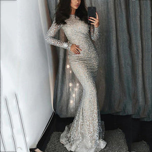 Sexy Round Neck Long Sleeve Sequin Dress