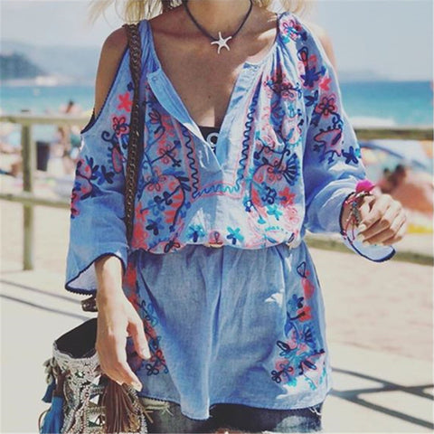 Vacation Beach Off Shoulder V-Neck Printed Overall Short Dress