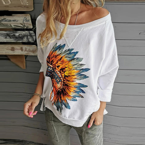 Casual Round Neck Solid Color Printed Loose Long-Sleeved T-Shirt