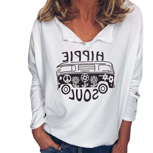 Casual Henley Collar Letters Printed Loose T-Shirt