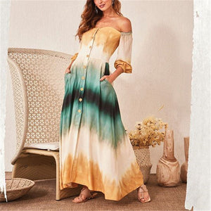 Off-The-Shoulder Half-Sleeved Color Dress