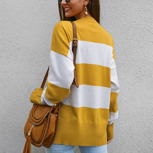 Maternity Fashion Stitching Striped Long Sleeve Sweater