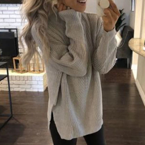 Fashion Causal Plain Round Neck Sweater