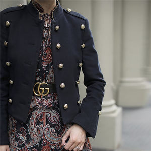 Modern Fashion Long Sleeve Decorative Buttons Blazer Jackets
