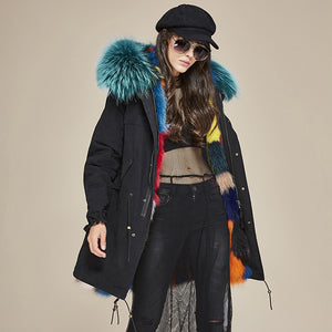Luxurious color high imitation fur coat