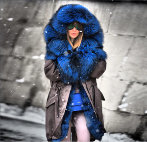 Fashion Warm Faux Fur Hooded Mid-Length Coat