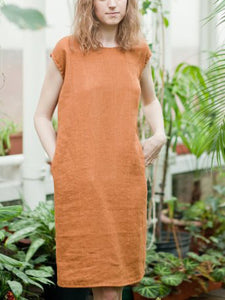 Casual Loose Solid Cotton And Linen Dress