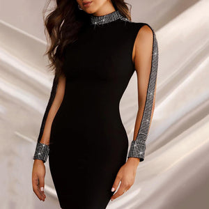 Women's Fashion Sexy Hot Diamond Round Neck Dress