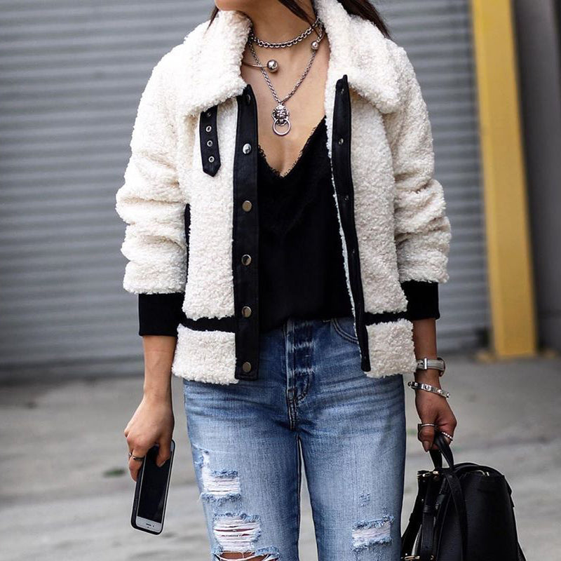 Trendy Rock Style Fleece White Plain Button Jacket