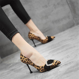 Rhinestone buckle leopard shallow mouth high heels