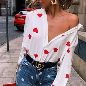 Love Print Long Sleeve Lapel Shirt