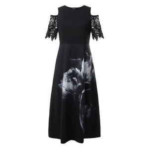 Fashion Round Neck Short Sleeve Strapless Lace Panel Dress