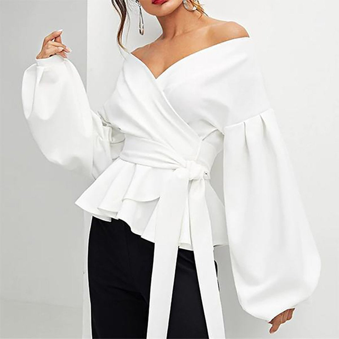 Sexy Lantern Sleeve Top Bow Waist  Shirt