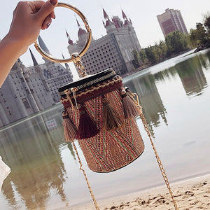 Woven Mini Slant Hand Bucket Single-Shoulder Bag