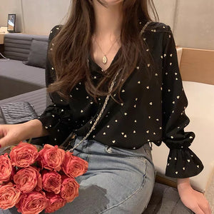 Woman elegant simple fashion chiffon shirt top