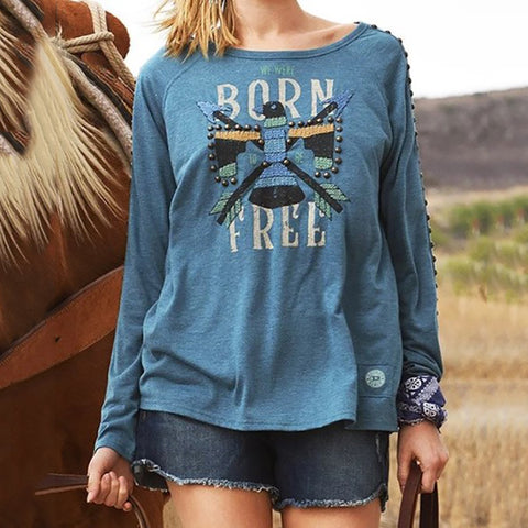 Casual Printed Round Neck Long Sleeve T-shirt