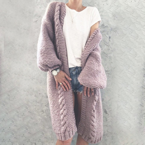 Fashion solid color long knit cardigan coat