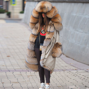 Autumn and Winter Long Wide Luxury Cotton Jacket Coat